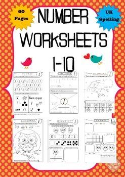 Number Worksheets:1-10, 60 printable pages UK spelling (Ki