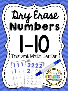 Dry Erase Number Writing 1-10