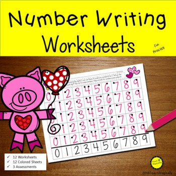 Number Writing 1-20 Worksheets Valentines Day