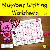 Number Writing 1-20 Worksheets Valentines Day No Prep