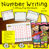 Number Writing 1-20 Worksheets Spring April Activities