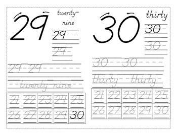 Number Writing 21-30