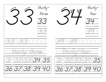 Number Writing 31-40