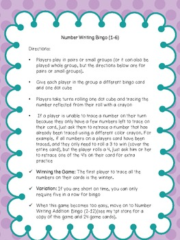 Number Writing Bingo (1-6)