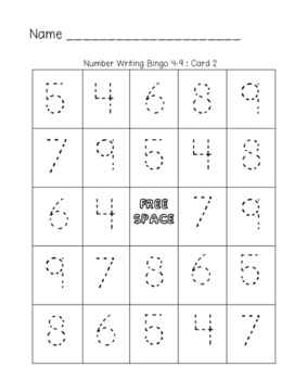 Number Writing Bingo 4-9