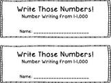 Number Writing Book 1-1,000 {FREEBIE}