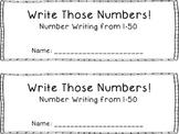 Number Writing Book 1-50 {FREEBIE}