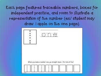 Number Writing Book NO PREP Number Formation 0-10 Pre-K Kindergarten