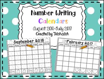 Number Writing Calendars 2016-2017