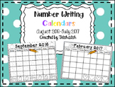 Number Writing Calendars 2016-2017