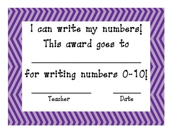 Number Writing Certificate Purple Power