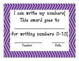 Number Writing Certificate Purple Power
