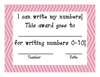 Number Writing Certificate Pretty in Pink