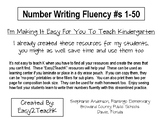Number Writing Fluency #s 1-50 Test & Home Practice Page