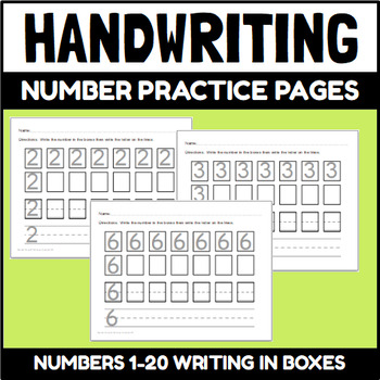 Number Writing Pages with boxes
