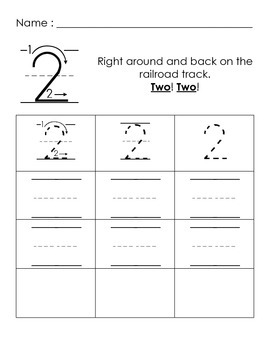 Number Writing Poems - practice sheets