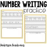 Number Writing Practice - 0-20