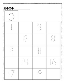 Number Writing Practice 0-20