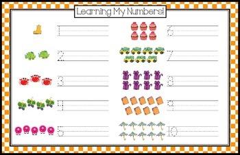 Number Writing Practice 1-10 - Orange