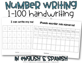 Number Writing Practice 1-100 {Number Handwriting}