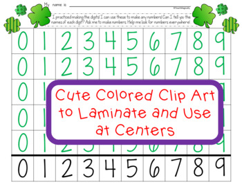 Number Writing Practice 1-20 St. Patricks Day March Math Centers