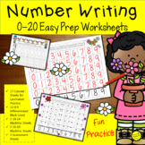 Number Writing Practice 1-20 Worksheets Spring May Activities