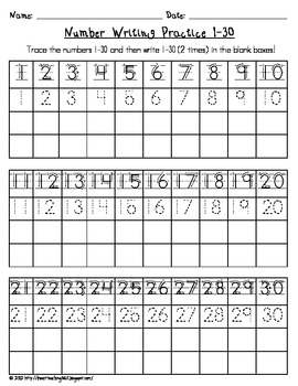 Printables Number Worksheets For Kindergarten 1-30 number writing practice 1 30 by i heart teaching teachers pay 30