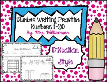Number Writing Practice 11-20- D'Nealian Style