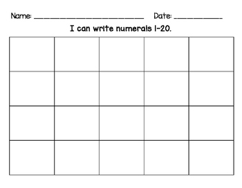 Number Writing Practice & Assessment Sheets 10/15/20