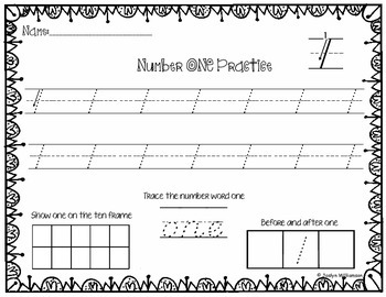 Number Writing Practice Bundle-Numbers 0-20- D'Nealian font