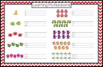 Number Writing Practice Mat, Numbers 1-10 (Red)