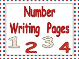Number Writing Practice Pages for Kindergarten