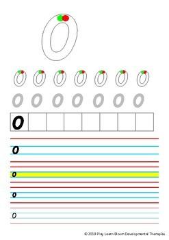 Number Writing Practice Sheets - Queensland Beginners Font
