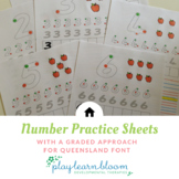 Number Writing Practice Sheets - Queensland Beginners Font