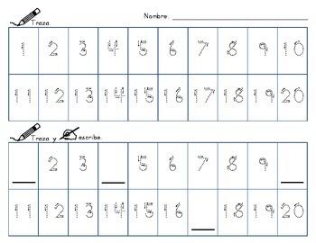 Number Writing Practice-Spanish/English