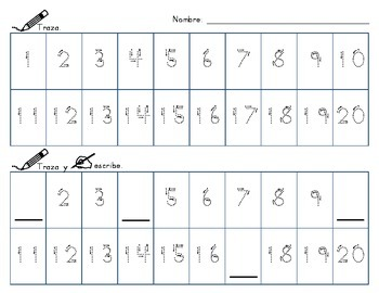 Number Writing Practice-Spanish/English