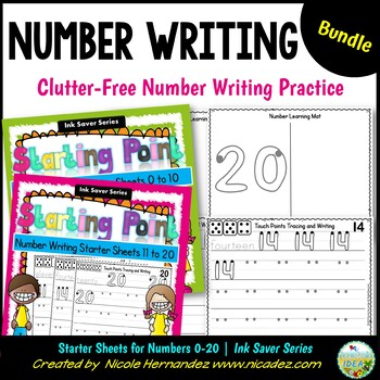 Number Writing Practice - Starter Sheets (0 to 20) BUNDLE