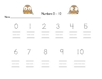 Number Writing Practice for Kindergarten