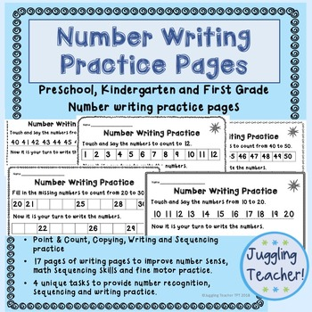 Number Writing Practice - number formation and fine motor skills, 1-50