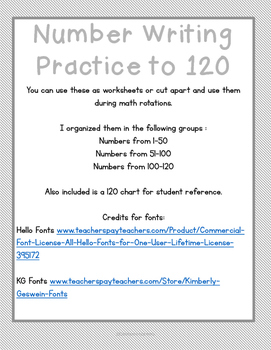 Number Writing Practice to 120