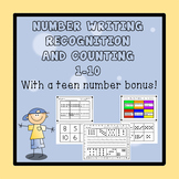 Number Sense 1-10 - Writing,Recognition, and Counting...and a Teen Number Bonus!