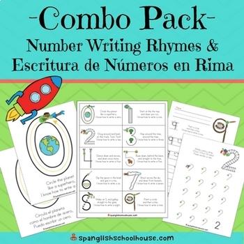 Number Writing Rhymes - Escritura de Numeros en Rima COMBO Bundle
