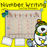 Number Writing Snowman Worksheets