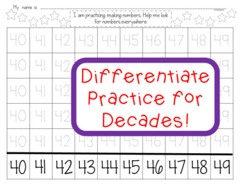 Number Writing Worksheets Teen Numbers and Decade Numbers