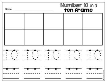 Numbers 1-10 on Ten Frames