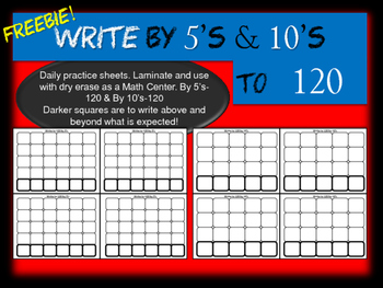 Number Writing by 5's & 10's - FREEBIE!