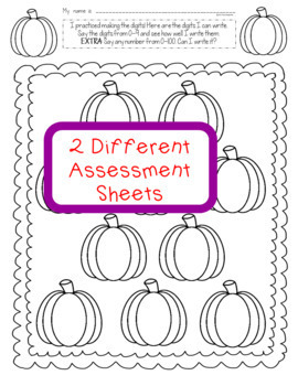 Number Writing with Number Sense Games Pumpkin October Theme