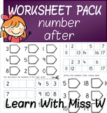 Number After to 10, 20 and 50 worksheet pack