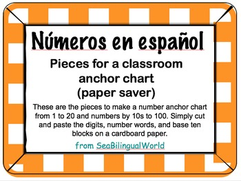 Number anchor chart English, Spanish, and base ten blocks