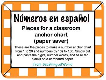 Number anchor chart English, Spanish, and base ten blocks